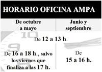 Horario Oficina: de octubre a mayo: 12 horas a 13 horas y de 16 horas a 18 horas, excepto viernes, que acaba a las 17 horas. Junio y septiembre: de 12 horas a 13 horas y de 15 horas a 16 horas