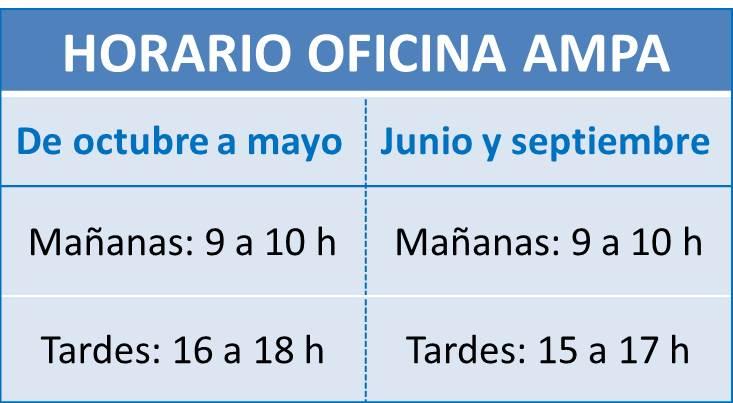 Horario Oficina: de octubre a mayo: 09 horas a 10 horas y de 16 horas a 18 horas. Junio y septiembre: de 09 horas a 10 horas y de 15 horas a 17 horas